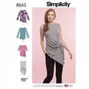 8643 Simplicity Pattern: Misses' Knit Tops